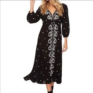 FREE PEOPLE Embroidered V Neck Maxi Dress S NEW